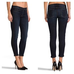 Hudson Ava Shirley lamb skin trim side crop jeans